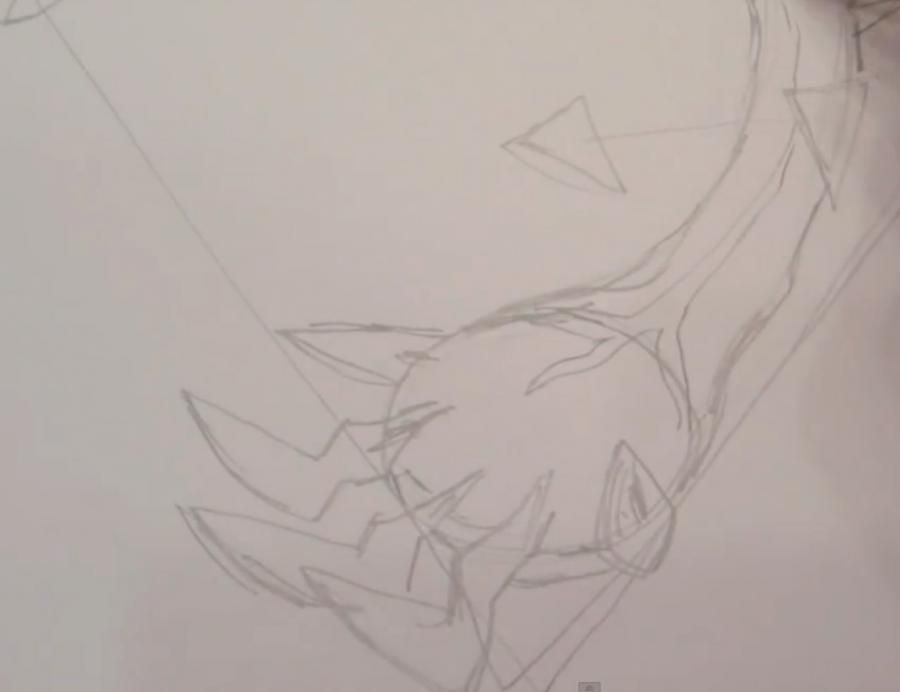How to draw Skrelp from game Pok?mon X and Y pencil step by step 3