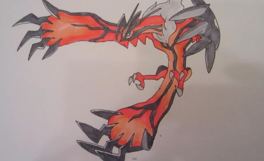 How to draw the Pokemon Iveltal from Pok?mon X and Y pencil