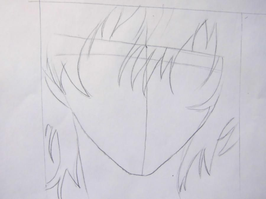 How to draw Oz Bezarius from an anime Pandora's Heart with a pencil step by step 3