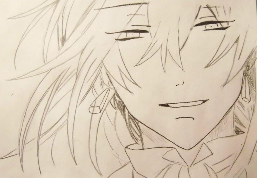 How to draw Sebastian Mikaelis from the Dark butler with a pencil 5