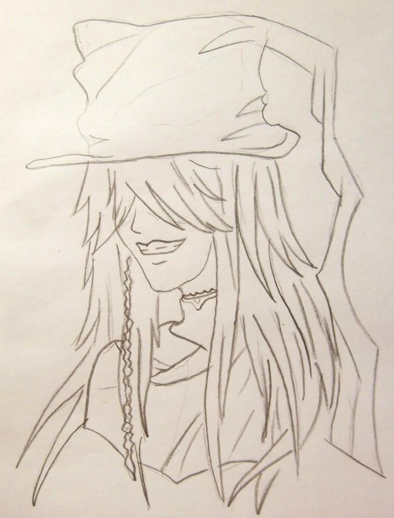 How to draw Siel Fantomkhayv from the Dark butler with a pencil 5