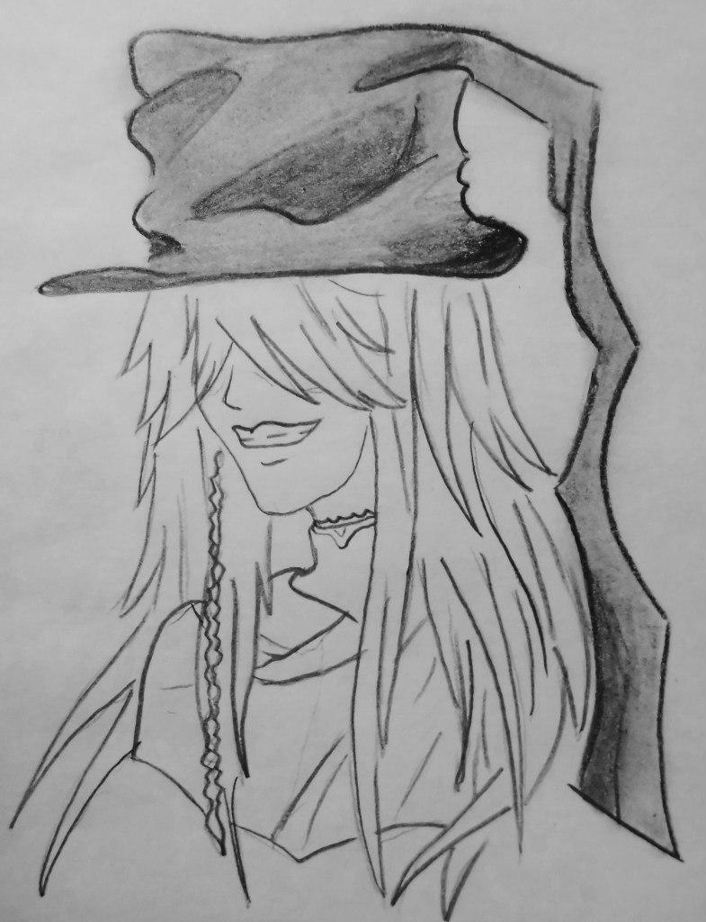 How to draw Siel Fantomkhayv from the Dark butler with a pencil 6