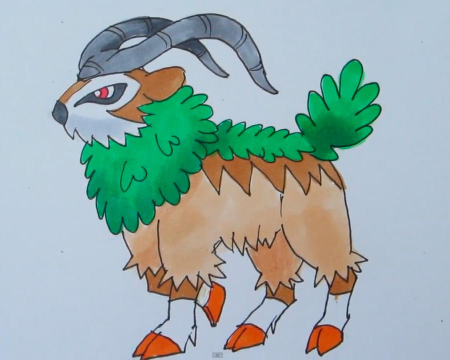 How to draw Gogoat from game Pok?mon X and Y pencil step by step