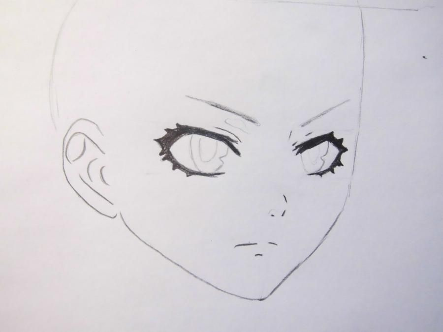 How to draw Dokuro's Chrome from an anime Reborn with a pencil step by step 3