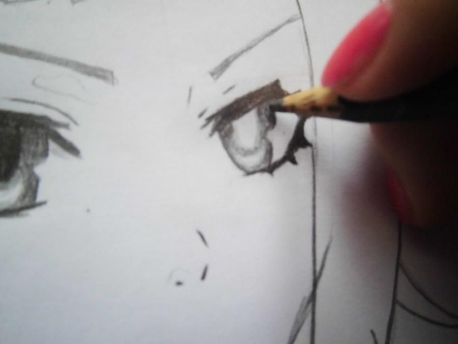 How to draw Dokuro's Chrome from an anime Reborn with a pencil step by step 6