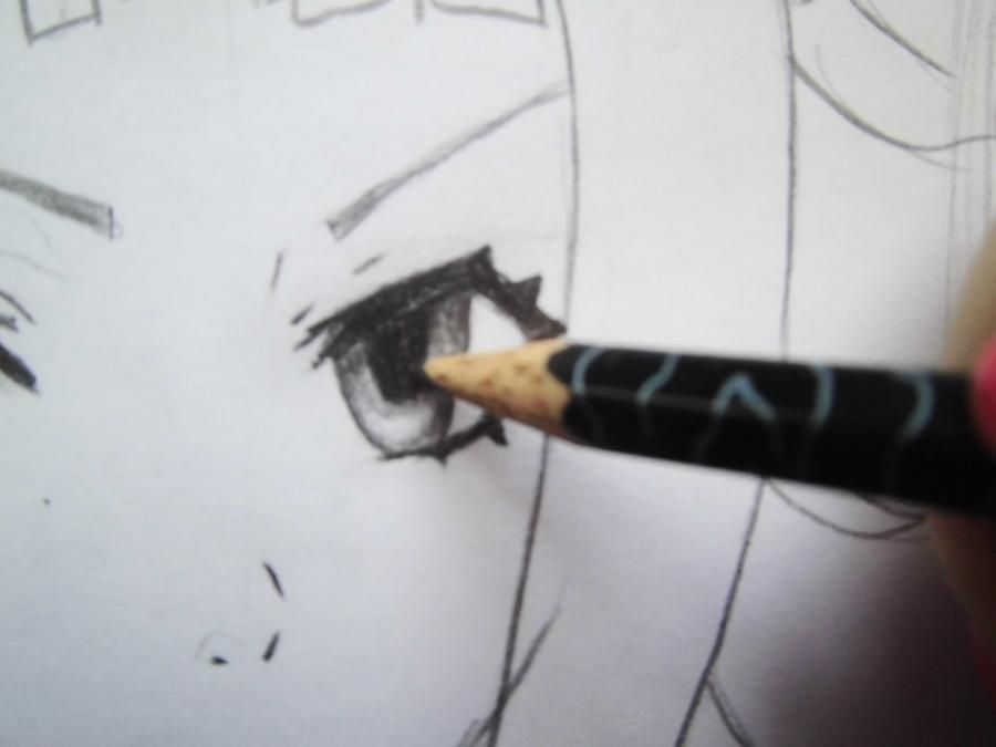 How to draw Dokuro's Chrome from an anime Reborn with a pencil step by step 7