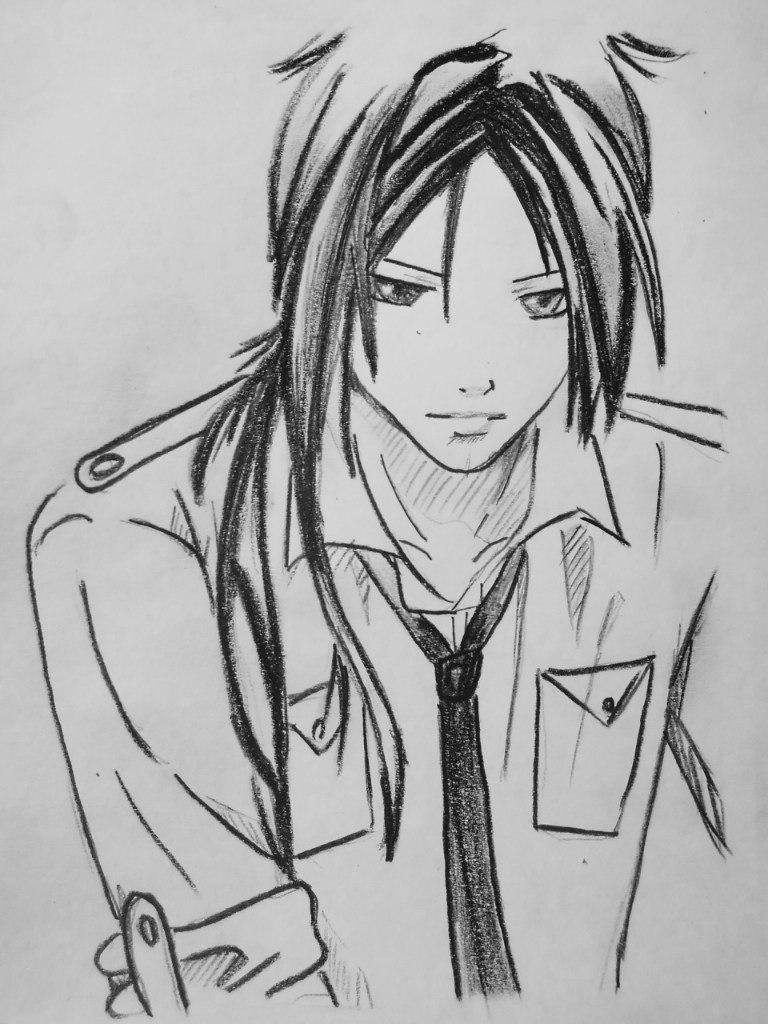 How to draw Mukuro Rokudo from an anime Reborn with a pencil