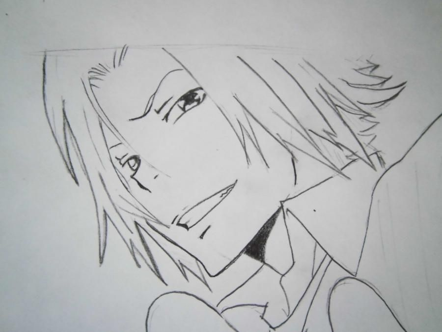 How to draw Tsunayosi Savad from an anime of Reborn with a pencil 6