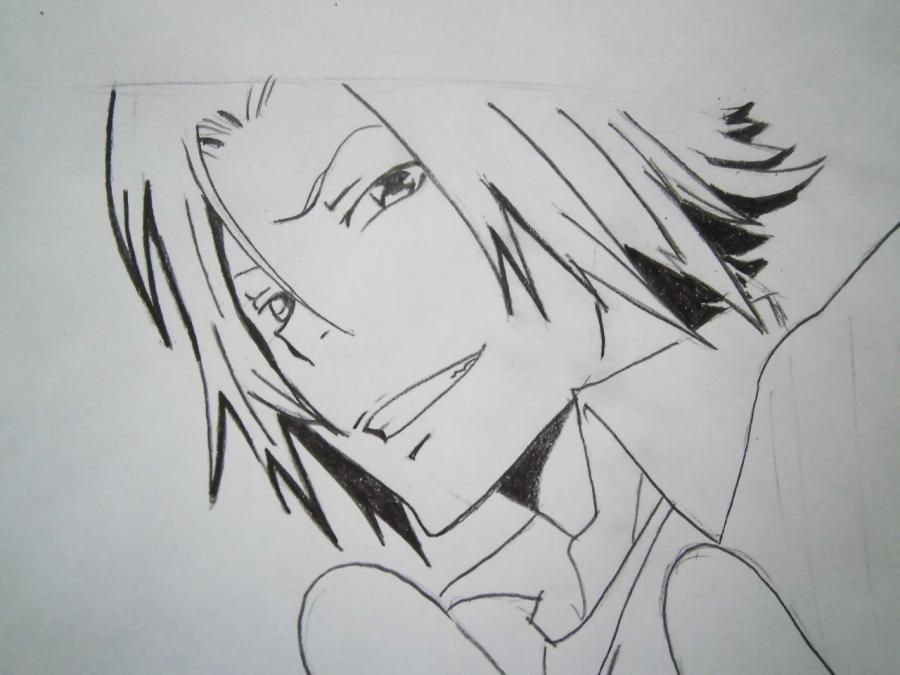 How to draw Tsunayosi Savad from an anime of Reborn with a pencil 7
