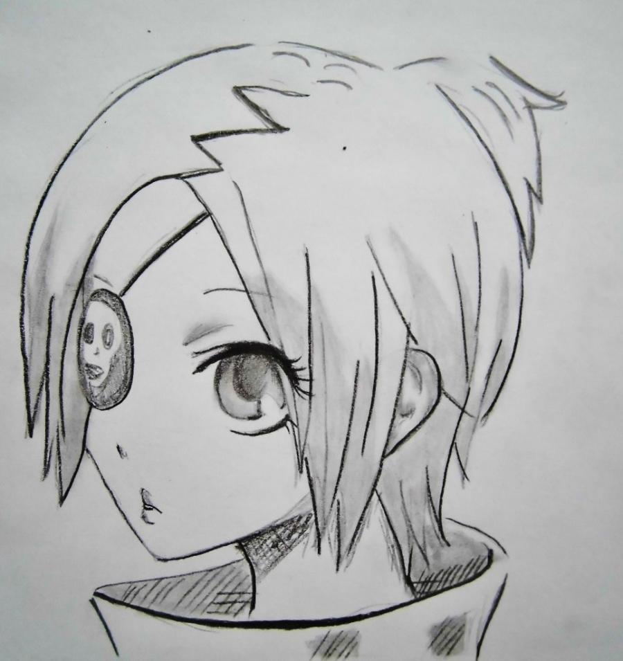 How to draw Dokuro's Chrome from an anime Reborn with a pencil step by step