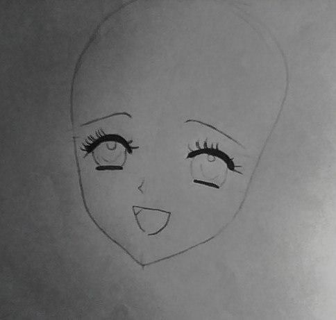 How to draw an anime the girl in a New Year's hat with a pencil 3