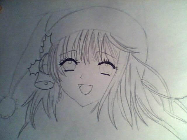 How to draw an anime the girl in a New Year's hat with a pencil 4