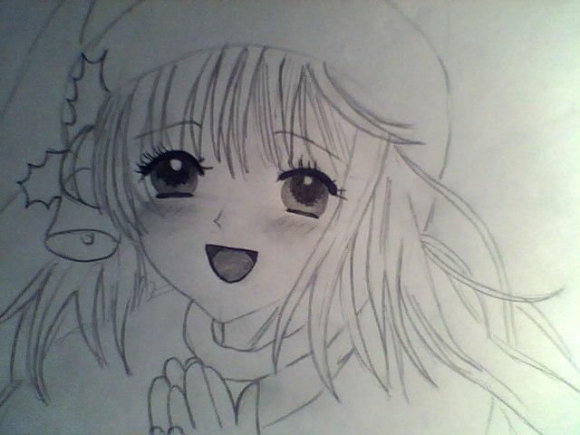 How to draw an anime the girl in a New Year's hat with a pencil 6