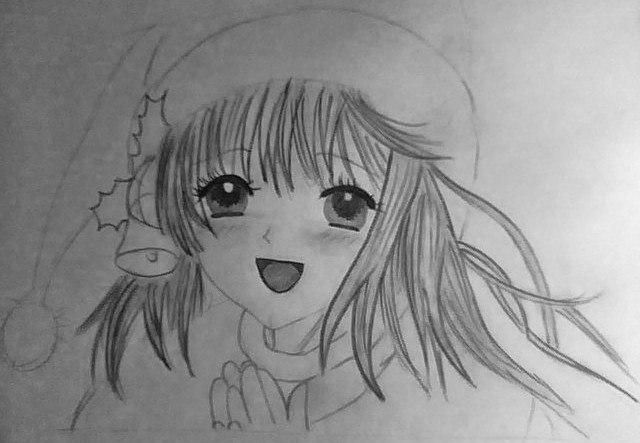 How to draw an anime the girl in a New Year's hat with a pencil 7
