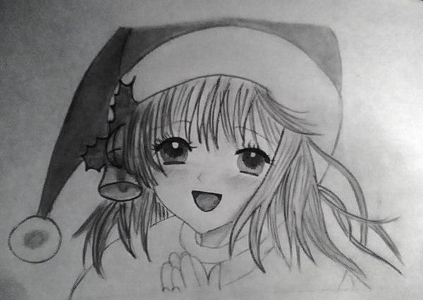 How to draw an anime the girl in a New Year's hat with a pencil 8