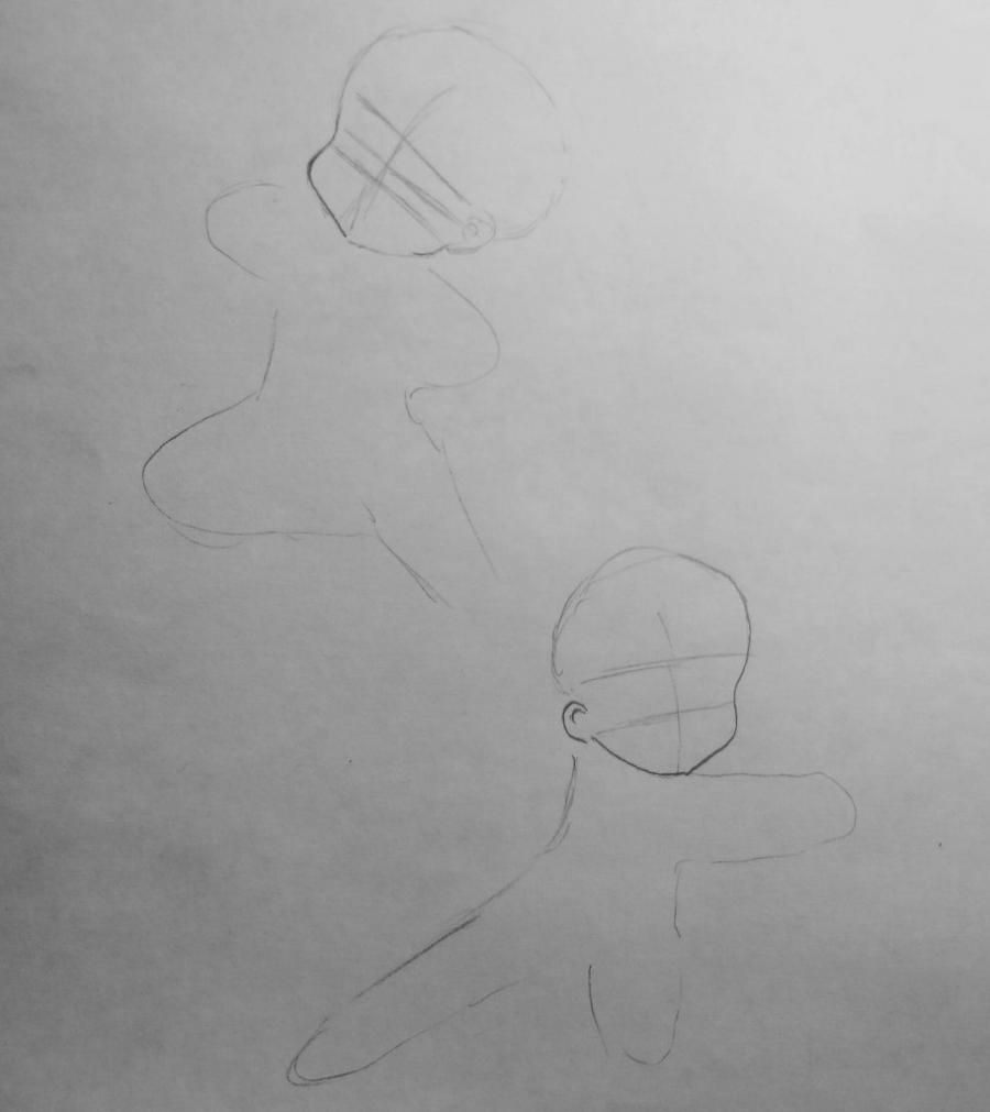How to draw Len and Rihn from Vokaloidov with a pencil step by step 2