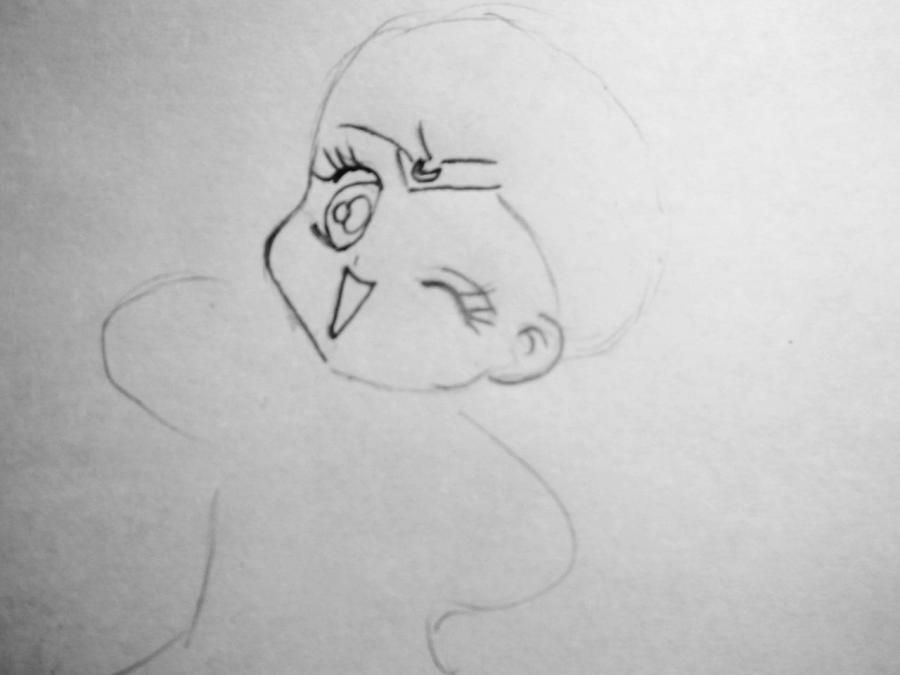 How to draw Len and Rihn from Vokaloidov with a pencil step by step 4