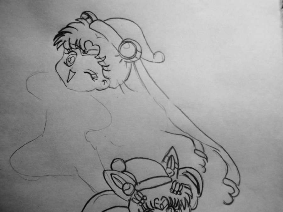 How to draw Len and Rihn from Vokaloidov with a pencil step by step 6