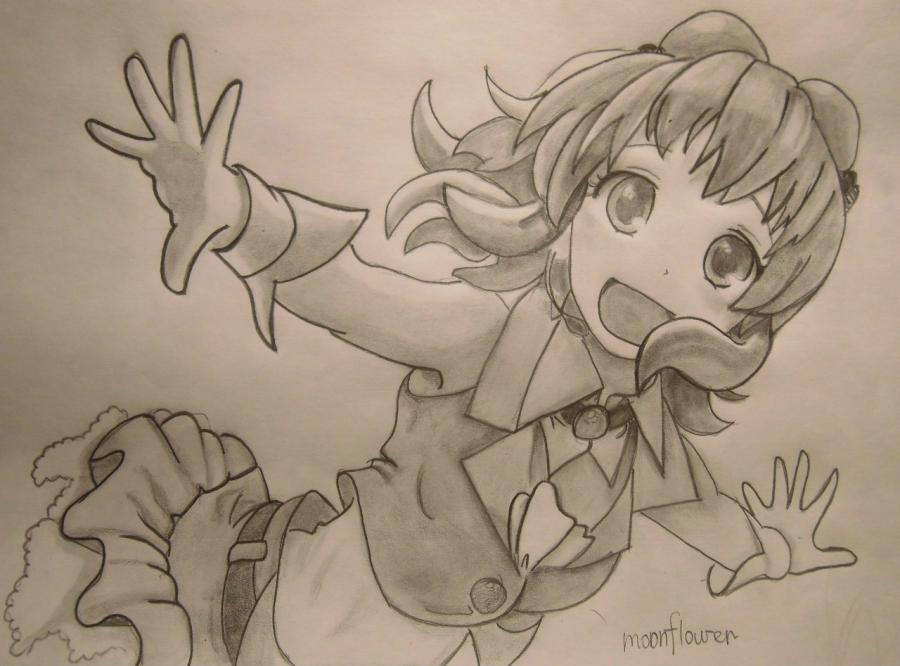 How to draw Gumi Megpoid from Vokaloidov with a pencil step by step