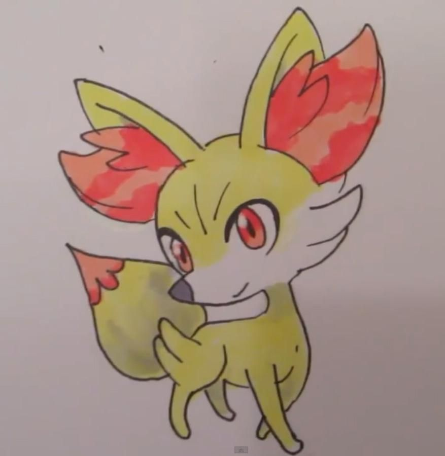 How to draw Fennekin from Pok?mon X and Y pencil step by step