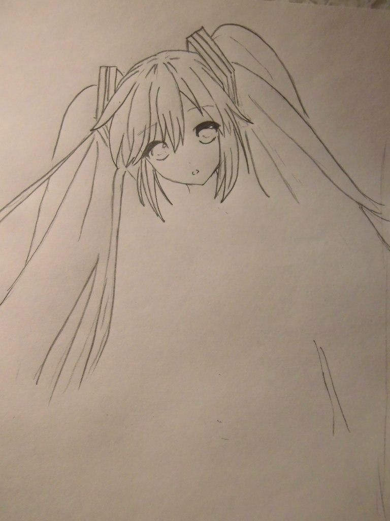 How to draw Nia from an anime Death Note with a pencil step by step 4