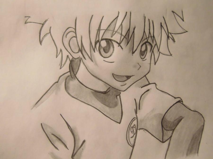 How to draw Killua from an anime the Hunter x the Hunter step by step