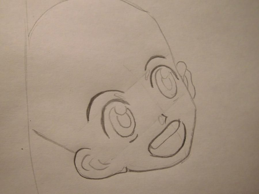 How to draw San of the Princess to a mononoka with a pencil step by step 3
