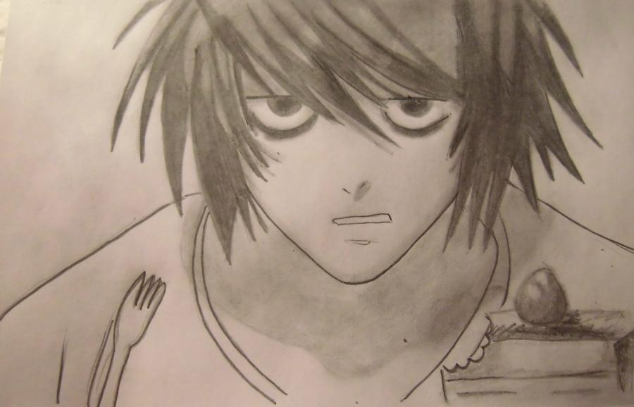 How to draw L of Death Note a pencil step by step
