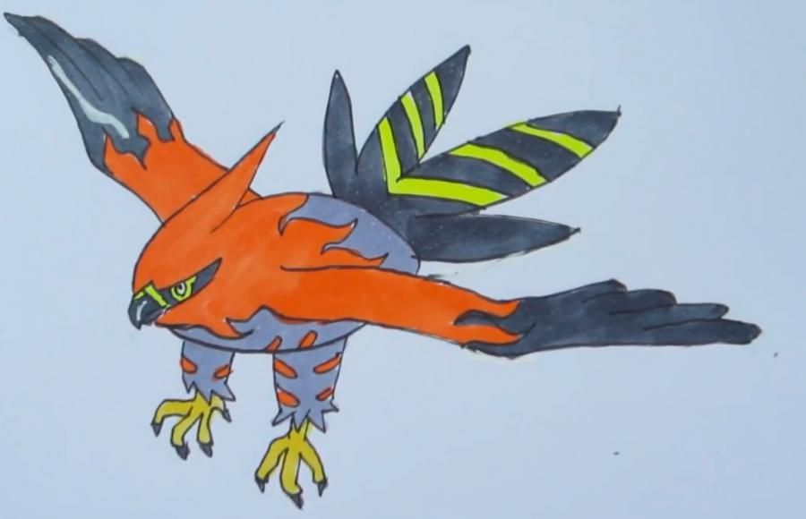 How to draw the Pokemon Telonfleym from game Pok?mon X and Y pencil