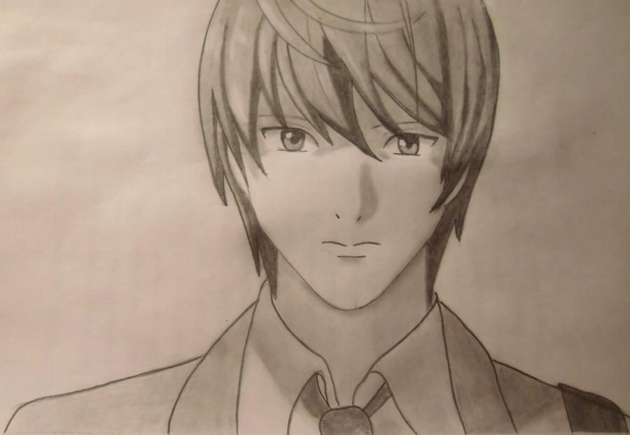 How to draw Layt Yagami from Death Note step by step