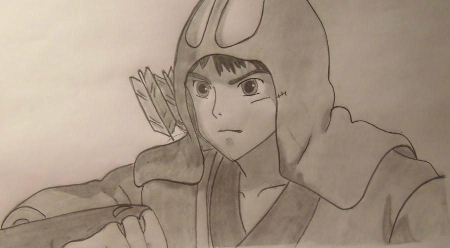 How to draw Asitak from an anime the Princess Mononoke step by step