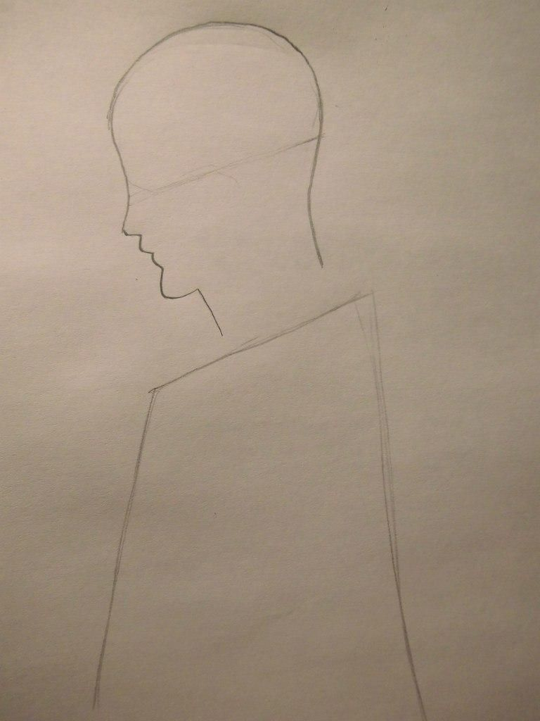 How to draw a portrait of Kakasi Hatake from Naruto with a pencil step by step 2