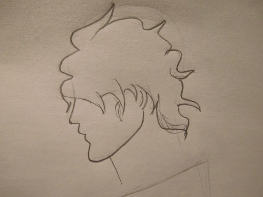 How to draw a portrait of Kakasi Hatake from Naruto with a pencil step by step 3