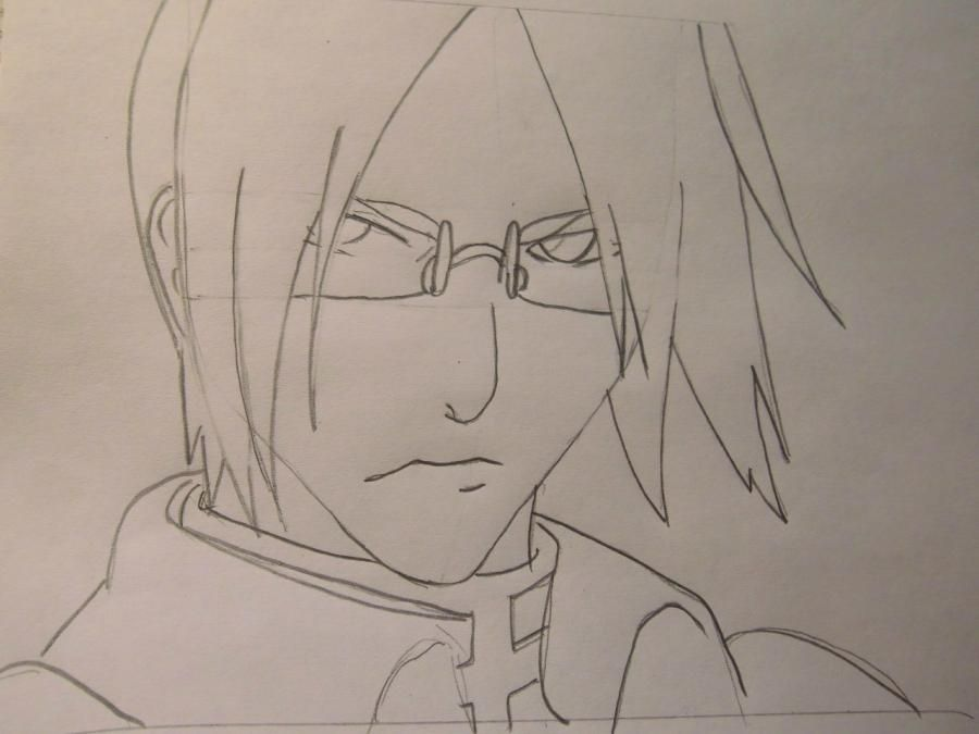 How to draw a portrait Sask of Uchikh from Naruto step by step 5