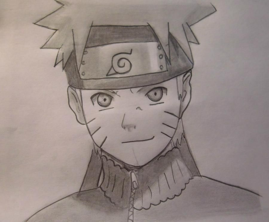 How to draw Naruto's portrait with a pencil step by step