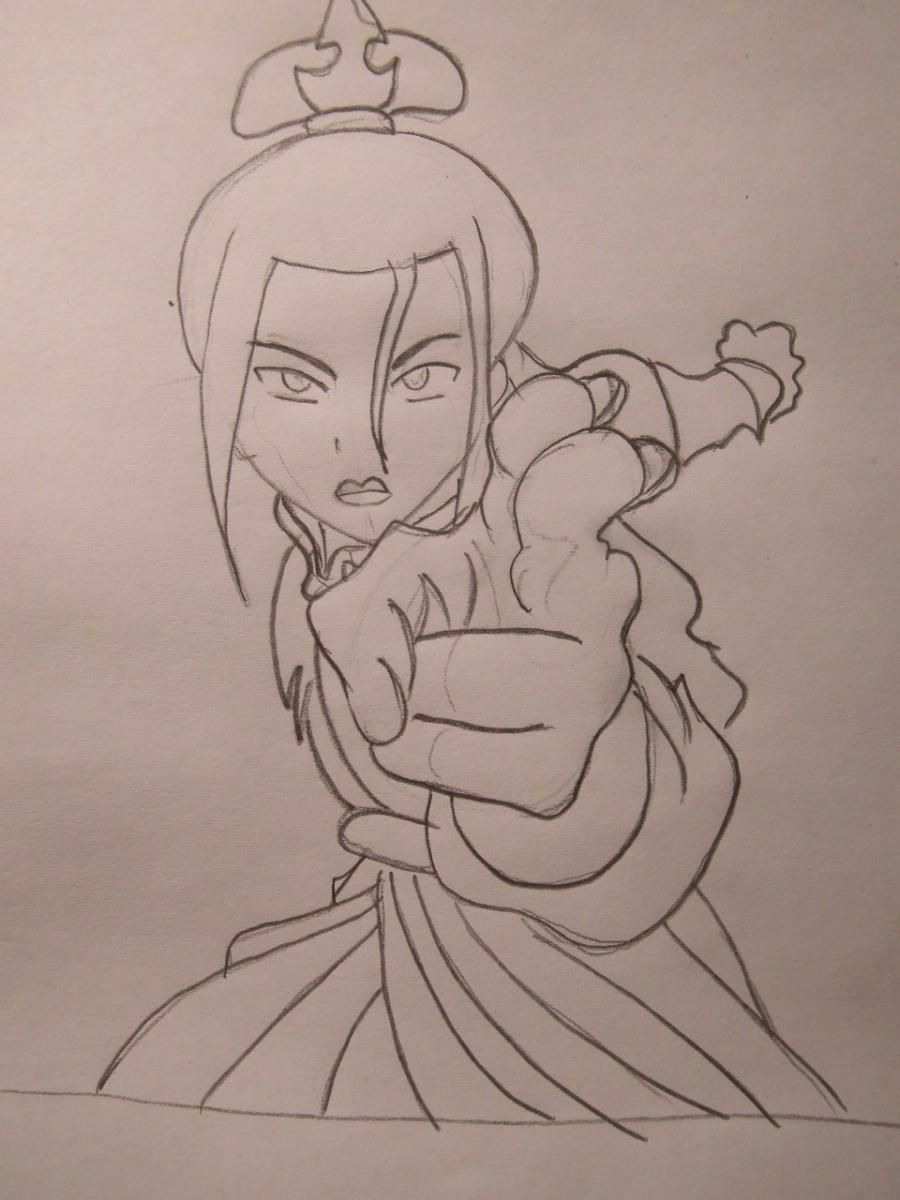 How to draw Aanga from Avatar:legend about Aange step by step 6