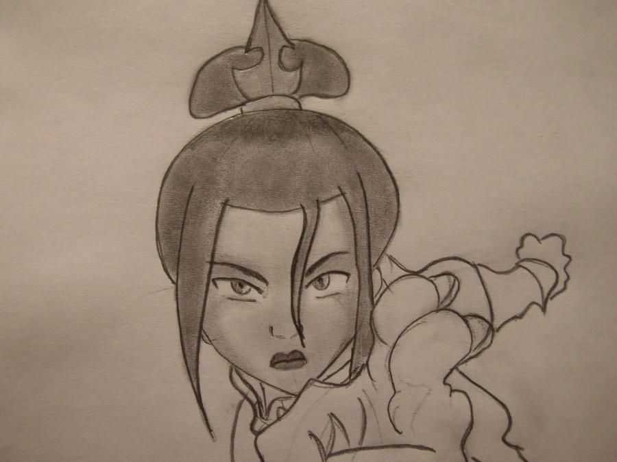 How to draw Aanga from Avatar:legend about Aange step by step 8