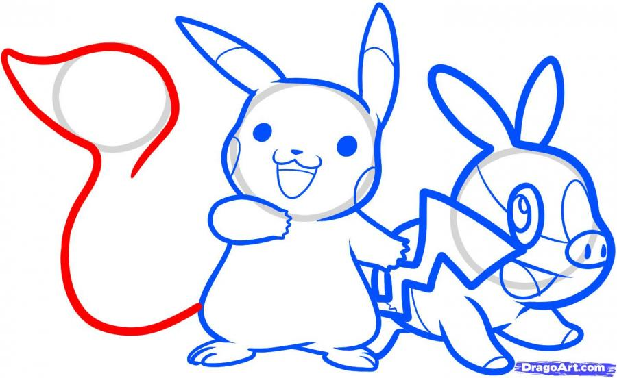 How to draw Ash Ketchum from Pokemons with a pencil step by step 11