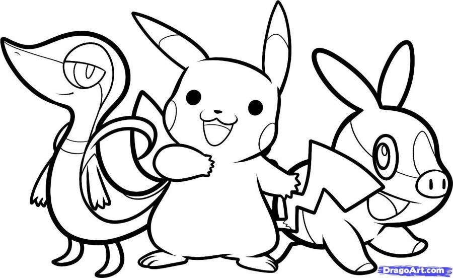 How to draw Pokemons of Snivi, Pikachu and Tepiga step by step
