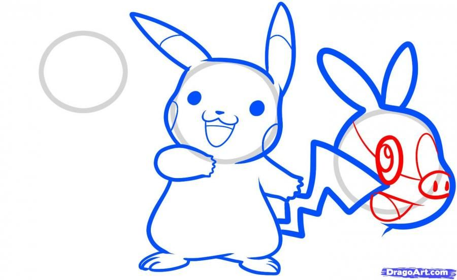 How to draw Ash Ketchum from Pokemons with a pencil step by step 8