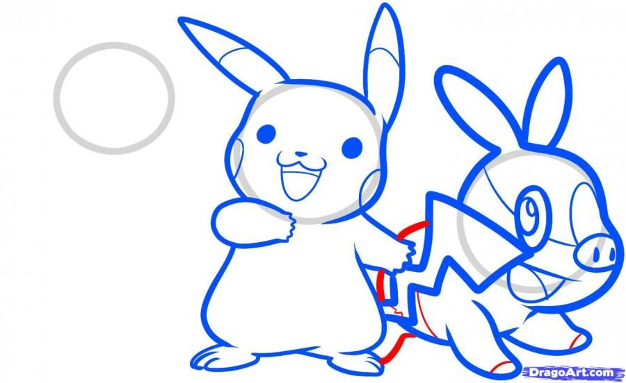 How to draw Ash Ketchum from Pokemons with a pencil step by step 10