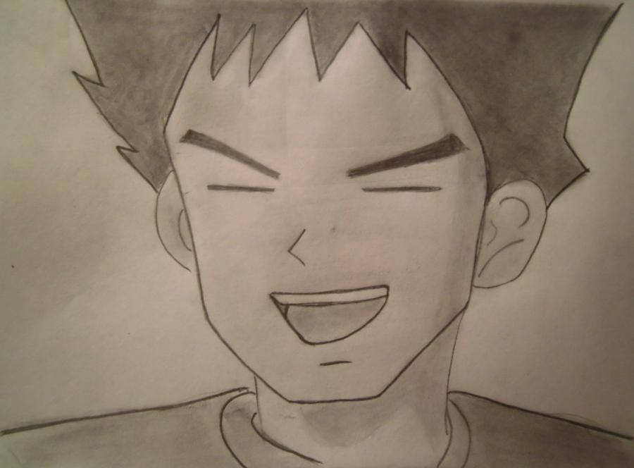 How to draw Brock from an anime Pokemons with a pencil step by step