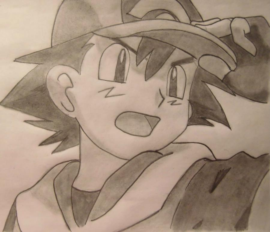 How to draw Ash Ketchum from Pokemons with a pencil step by step