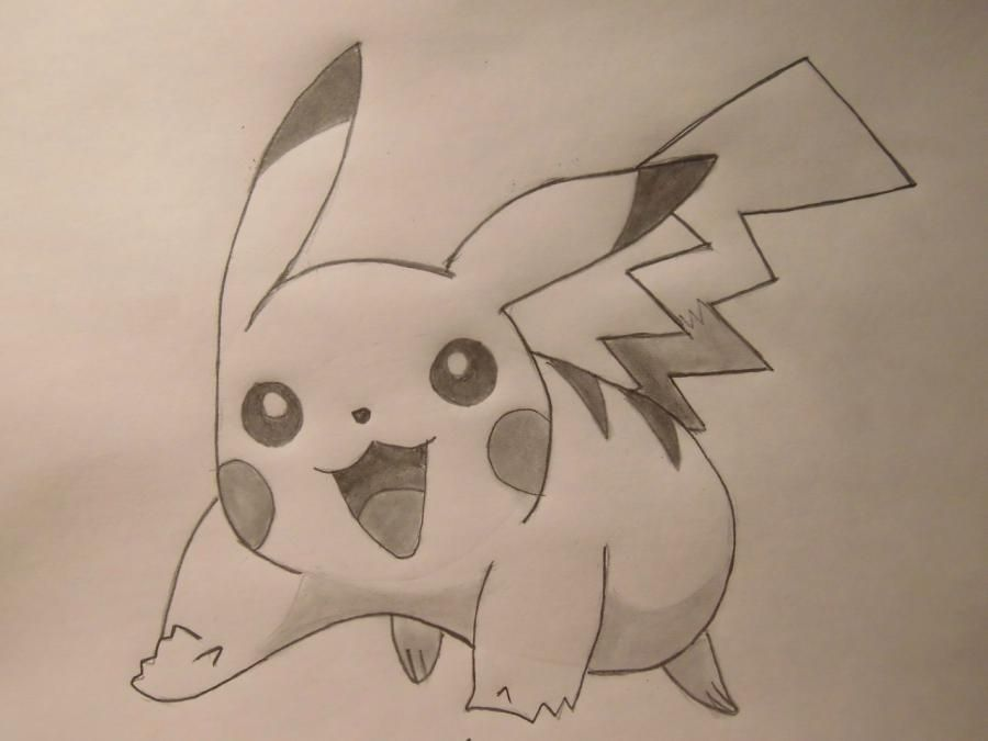 How to draw Pikachu from an anime Pokemons with a pencil step by step