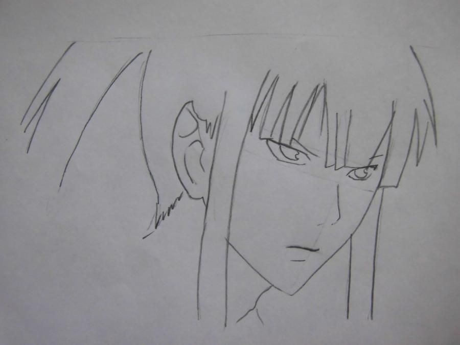 How to draw Sanka Ray from Sankarea with a pencil step by step 4