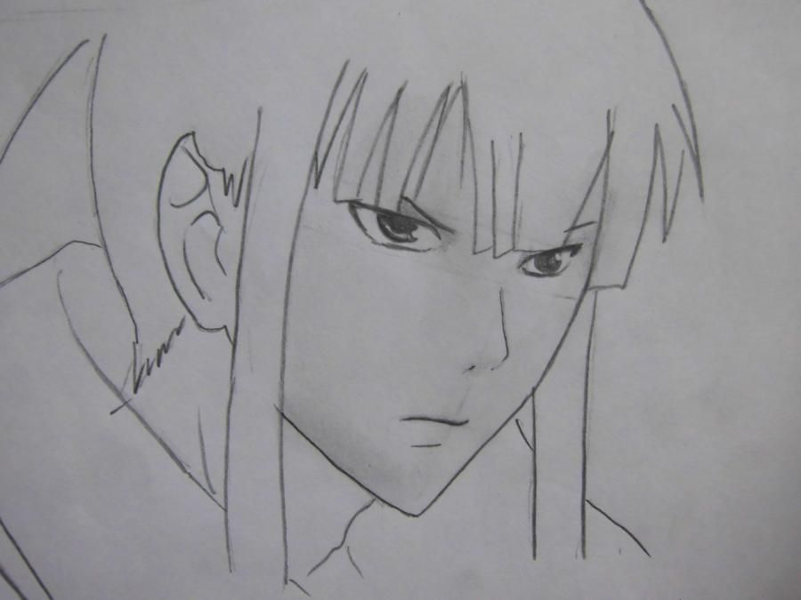 How to draw Sanka Ray from Sankarea with a pencil step by step 6