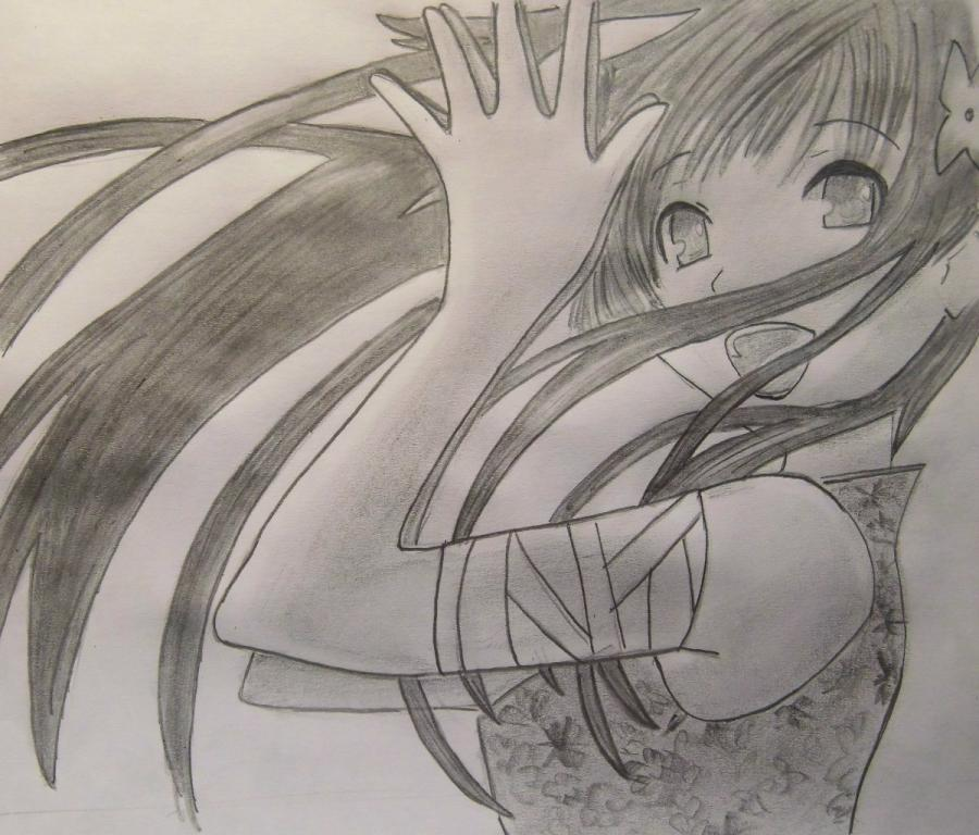 How to draw Sanka Ray from Sankarea with a pencil step by step