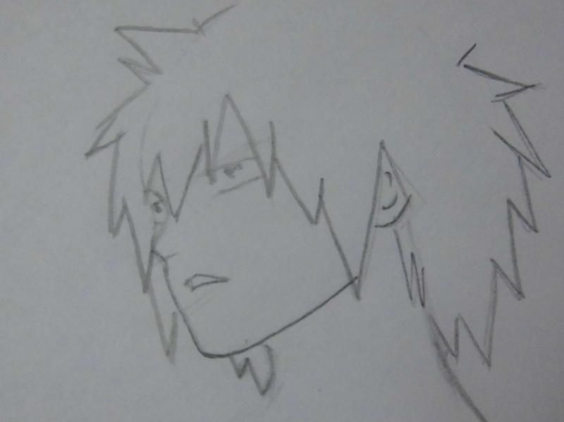 How to draw Natsu Dragnil from Fairy Tail step by step 4