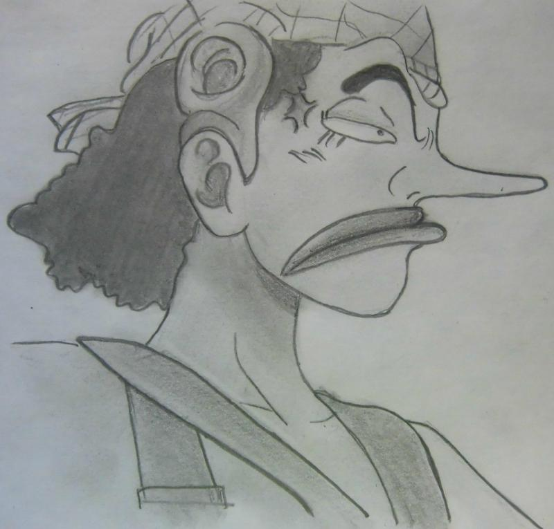 How to draw Usopp from an anime of One Piece step by step