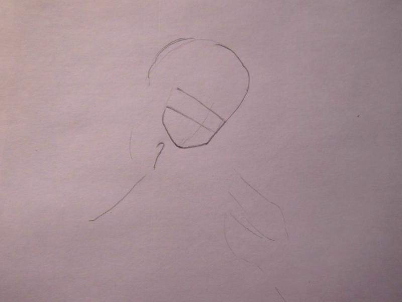 How to draw Hao Asakura from the Shaman King with a pencil step by step 2